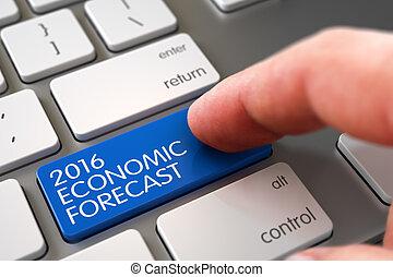 Hand Finger Press 2016 Economic Forecast Button. 3D.