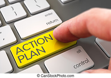 Hand Finger Press Action Plan Button. 3D.