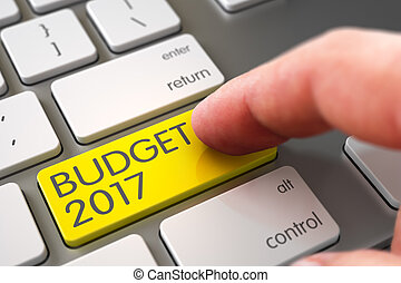 Hand Finger Press Budget 2017 Button. 3D Illustration.