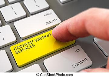 Hand Finger Press Content Writing Services Button. 3D.