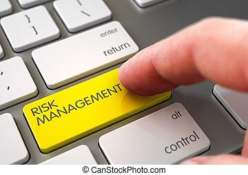 Hand Finger Press Risk Management Button.
