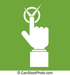 Hand finger pressing button with tick icon green
