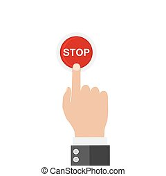 Hand finger pressing of red button STOP. Vector illustration