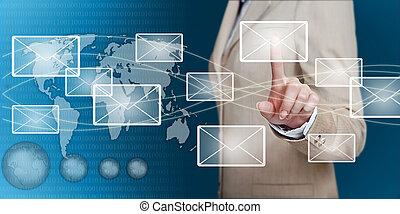 hand, finger, rörande, email