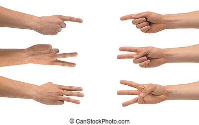 HAND FINGERS COUNT 1-2-3 , set of male hands isolated on white background