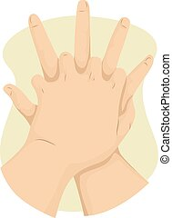 Hand First Aid - Cropped Illustration of a Person Performing...