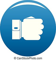 Hand fist icon blue vector