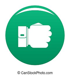 Hand fist icon green