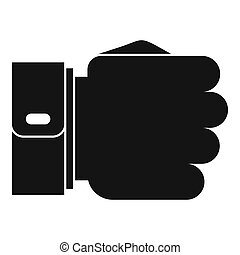 Hand fist icon, simple black style
