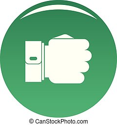 Hand fist icon vector green