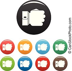 Hand fist icons set color vector