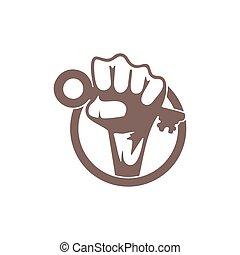 hand fist key to success circle symbol logo vector