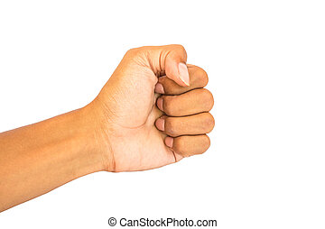 hand fist white background isolated