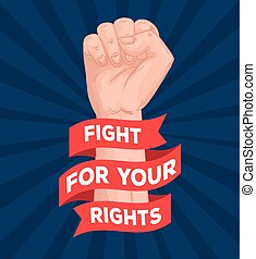 hand fist with rights fight lettering in ribbon