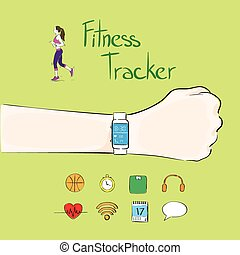hand fitness tracker wrist sport bracelet woman exercise workout girl wear smart watch flat icon