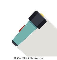 Hand flashlight icon, flat style