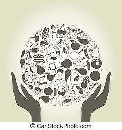Hand food - Hands hold a sphere from food. A vector...