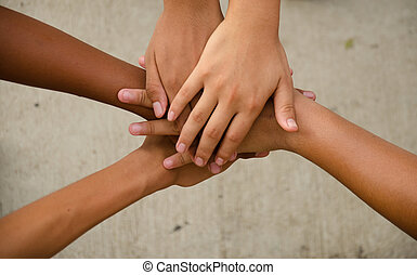 Hand for unity - children hand for power and unity
