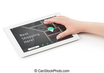 hand frau, aus, a, tablette, computer.