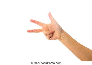 hand frau, ausstellung, drei, finger