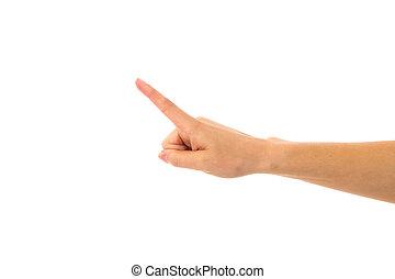 hand frau, ausstellung, zeigen finger