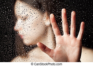 hand, frauen, ausgestreckt, einsam