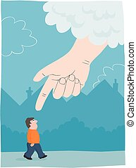 Hand from above - A large hand appears from the sky to point...