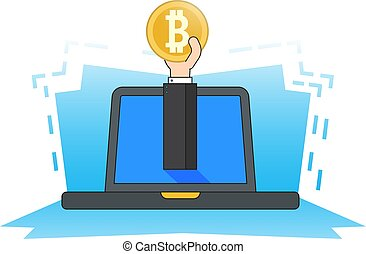 Hand from laptop holds a bitcoin coin. Concept of Mining crypto currency. Flat style