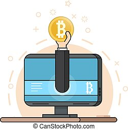 Hand from monitor holds a bitcoin coin. Concept of Mining crypto currency. Flat style
