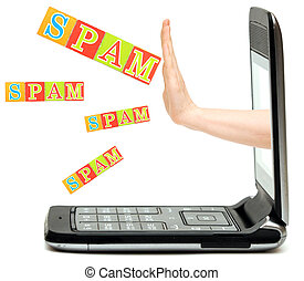 hand from the phone stops spam word - A human hand stopping...