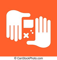 hand Game Console - Playing video games. Hands playing Game...
