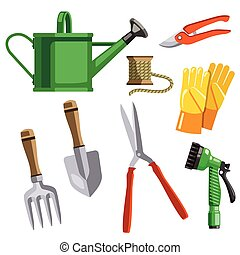 hand garden tools. color vector illustration isolated on white background