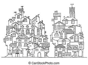 hand, gekritzel, houses., gezeichnet