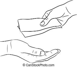 hand, geld, boeiend, illustratie, geven, vector, monochroom...