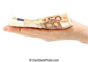 hand, geld hält, auf, a, weißer hintergrund