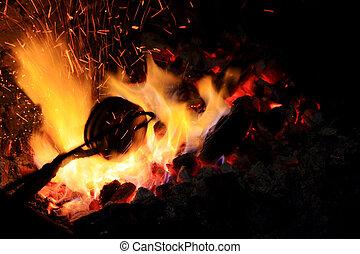 hand gemacht, feuer, wohin, blacksmith's, eisen, schmiede, ...