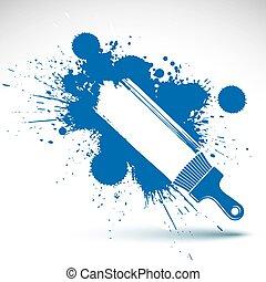 hand-gemalt, dekorativ, grunge, hintergrund, gemacht, mit, fleck, brushstrokes., kunst, renovierung, thema, bunte, zeichnung, buechse, sein, gebraucht, in, grafik, design., bürste, werkzeug, illustration.