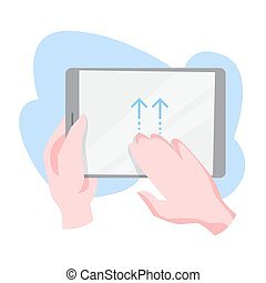 Hand gesture for a digital tablet. Finger movement