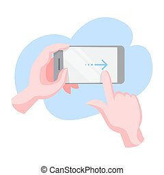 Hand gesture for a mobile phone. Finger movement