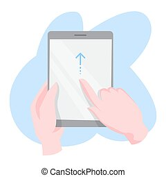 Hand gesture for mobile phone and digital tablet