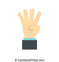 Hand gesture four fingers icon, flat style