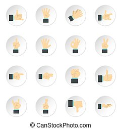 Hand gesture icons set, flat style