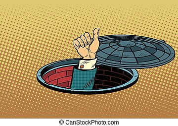 Hand gesture is all right, pop art retro vector illustration, a manhole