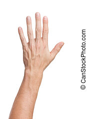 Hand gesture - Male hand gesture. Opposite side of palm...