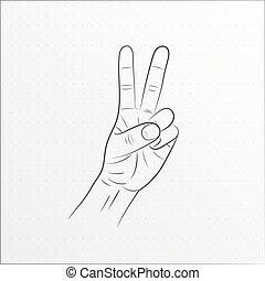 Hand gesture peace sign line art.