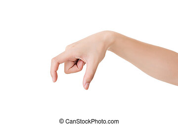 pick up - Hand gesture, pick up, isolated on white.