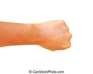 Hand gesture, punch.
