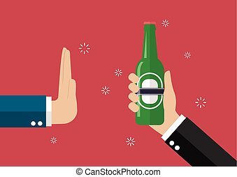 Hand gesture rejection a bottle of beer