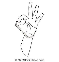 Hand gesture vector illustration Ok