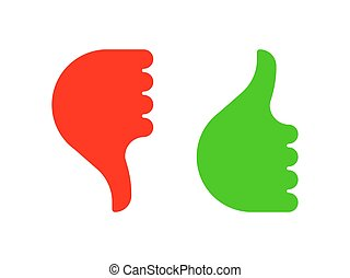 Hand gesture with thumb up and down color icon